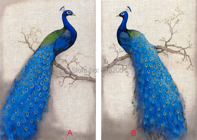 Canvas painting blue peacock 2 panels European style home decoration oil painting Imagich(China (Mainland))