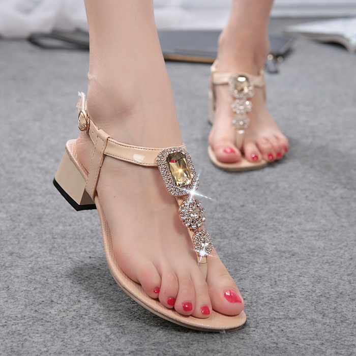 New Summer Woman Sandals Open Toe Ethnic Women Sandal Shoes Rhinestone Slippers Flip Flops Flats(China (Mainland))