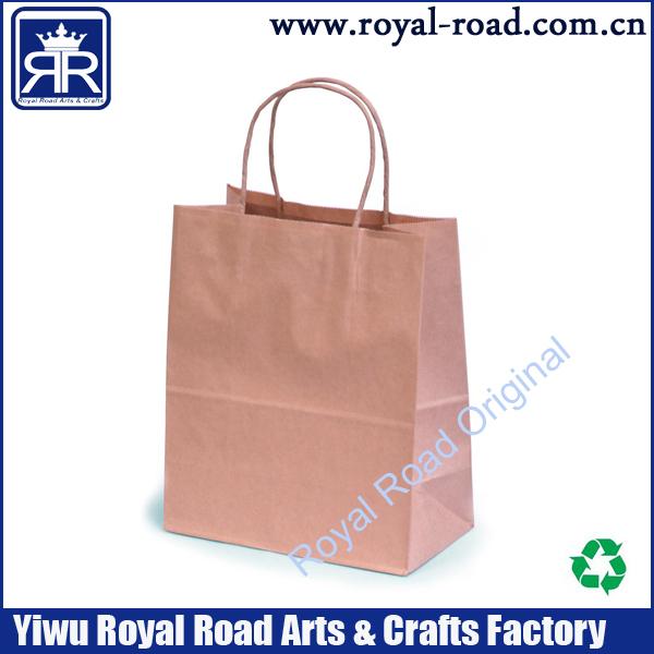 MOQ:1000PCS Custom printing FREE DHL SHIPPING brown kraft paper bag with twised paper handle,cheap custom kraft shoppping bag(China (Mainland))