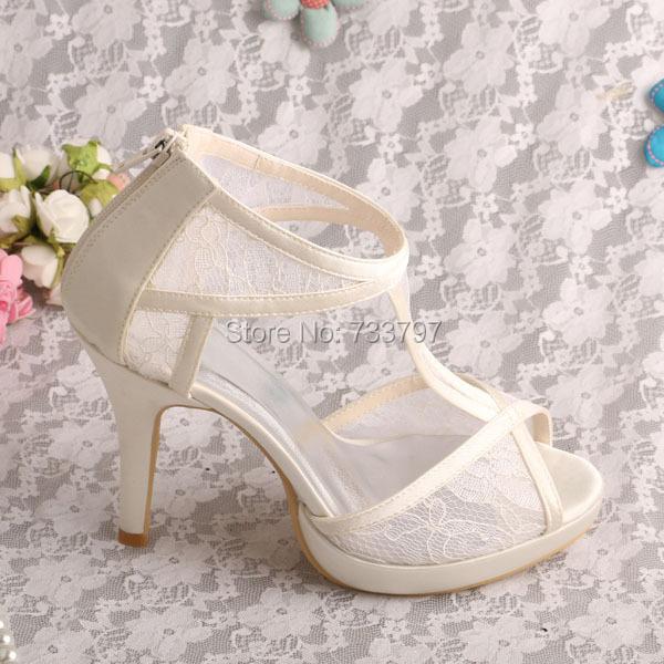 Wedopus MW342 Women Wedding Lace Sandals Zipper Shoes High Heeled Dropshipping