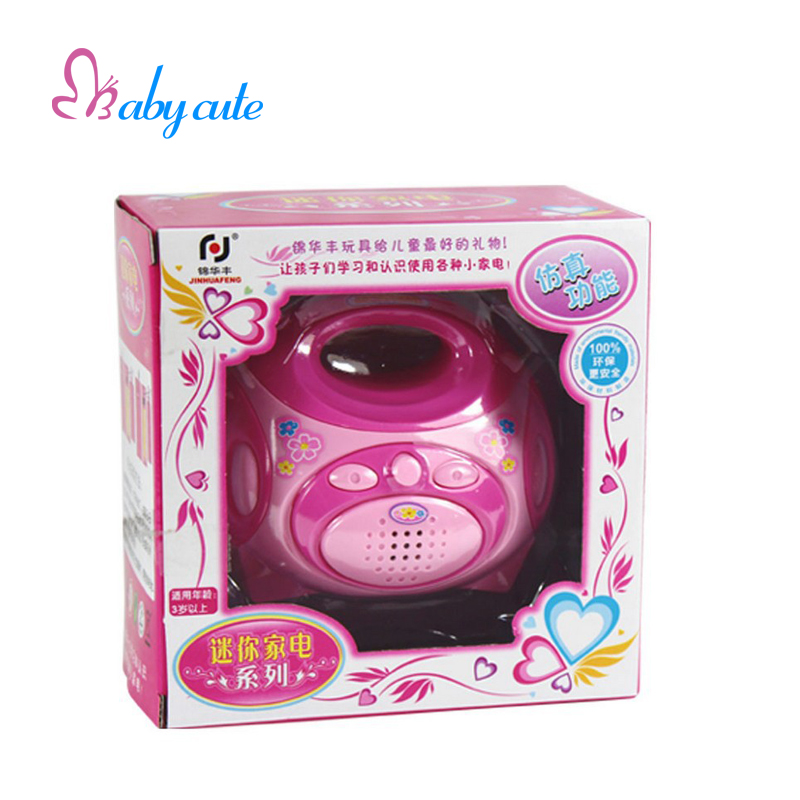 Educational Pretend Play House Toy Pink Electric Radio Toys For Kids With Light & Wonderful Songs Baby Early Educational Toy(China (Mainland))