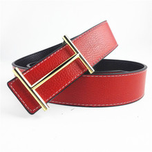2016 Hot sale brand designer belts men high quality Genuine leather belt for women with H belt buckle Double cover belt(China (Mainland))