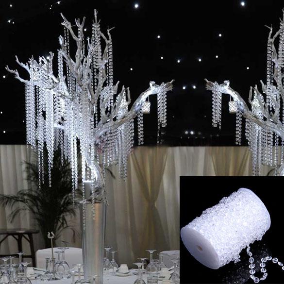 1 Roll Beads 99FT 30M Octagonal Acrylic Crystal Beads Party Supplie DIY Romantic Window Curtain Wedding Decoration