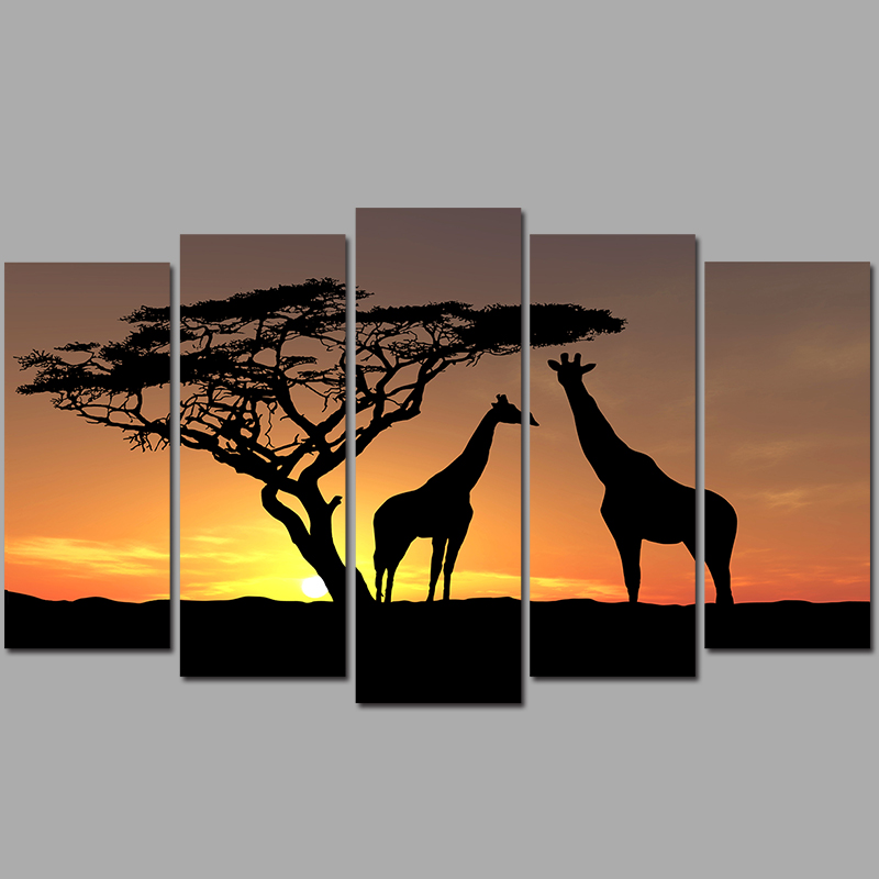 Big size 5 pcs animal living room Decoration giraffes falling sun Canvas printed Painting on wall Hanging home decor unframed(China (Mainland))