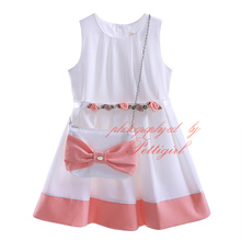 Best Seller White Girl Summer Dresses Cute Baby Girls Dress With Lady Bow Bag And Sashes Kids Clothes GD81016-4Y(Hong Kong)