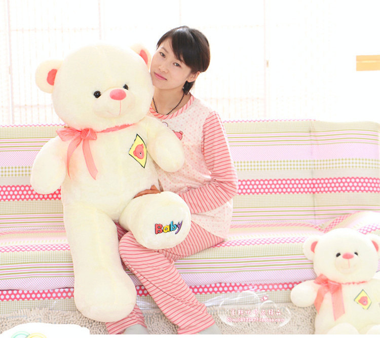 big lovely teddy bear toy plush teddy bear doll with pink bow stuffed baby bear toy gift about 120cm(China (Mainland))