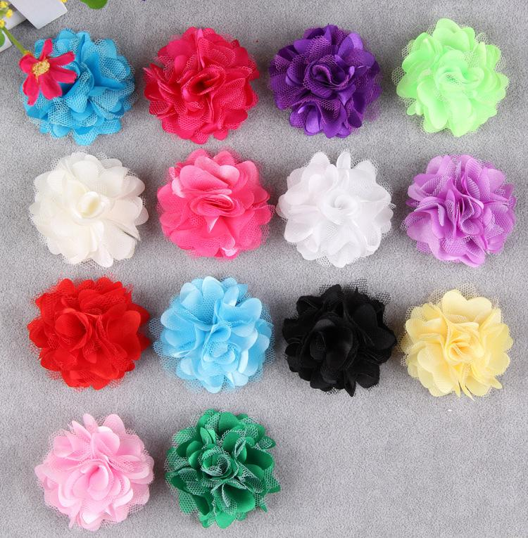 Classical Satin Mesh Tulle Fabric Flat Back Flower Decorations For Hair Accessories Girls Toddler Kid Hairband Hairpins Headband(China (Mainland))