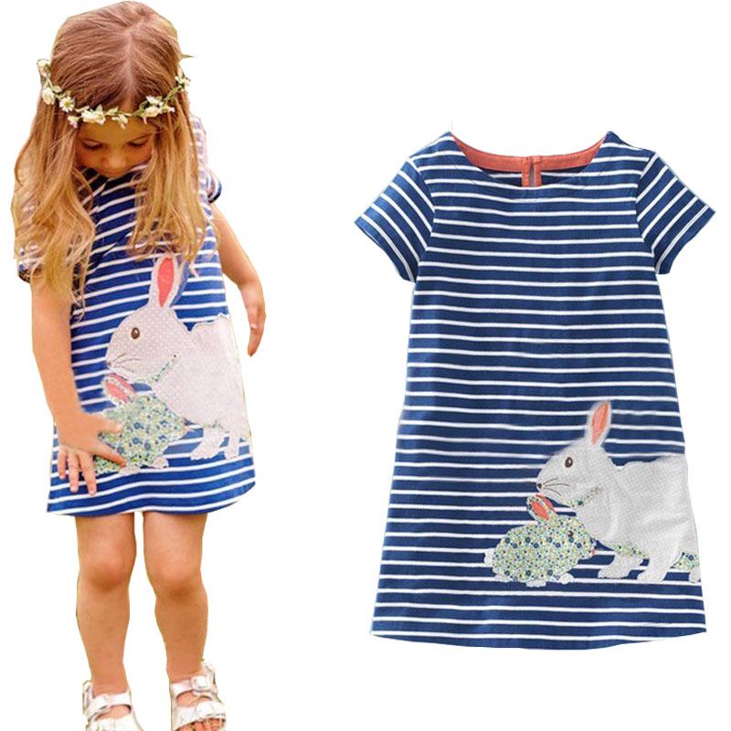 2-6Y Girls Dresses Summer 2016 Stripped Animal Childrens Dresses Girls Cotton Dress Straight Spanish Girls Dress Kids Clothes 40(China (Mainland))