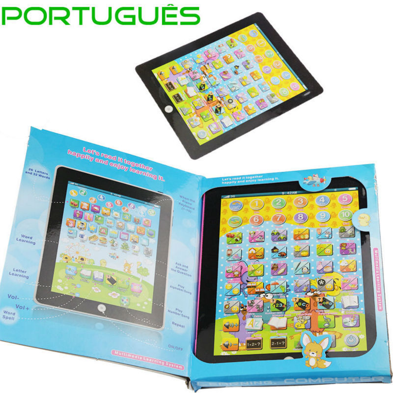 Portuguese Brazil English Kids Learning Tablet Machine Educational Baby Toys Laptop Children's Computer Y Pad Free Shipping(China (Mainland))