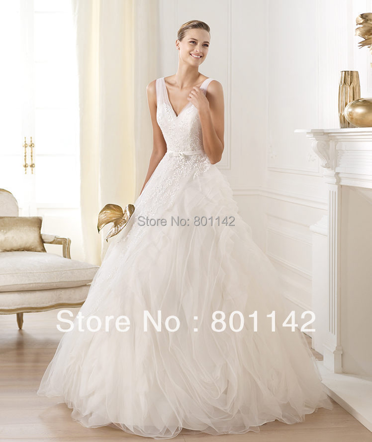Customed Shoulder V Neck Pleated Draped Appliques Pageant Bridal Gowns Line Organza Wedding Dress 2015 - Dressonline store