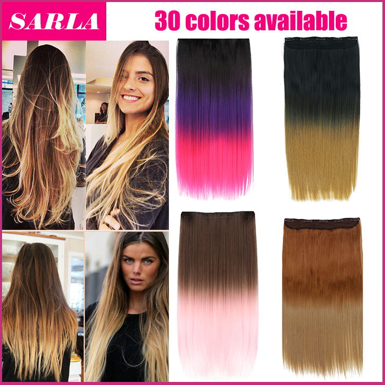 Гаджет  Free Shipping 1pcs  clip in straight ombre hair extensions Two tone  synthetic japanese fiber hair 24inch 20 colors available  None Волосы и аксессуары