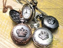 Free shipping 40pcs/lot Vintage Bronze  Quartz crown Pocket Watch Xmas Gifts