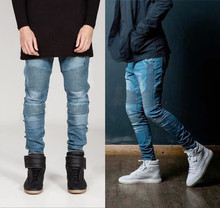 New Arrival 4 color High Quality Pleated Hollow Washed Skinny Men Joggers Hip Hop Motorcycle black Biker Jeans Denim Pants(China (Mainland))