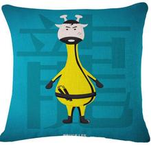 Cartoon Giraffe Hero Cotton Linen Throw Pillow Cushion