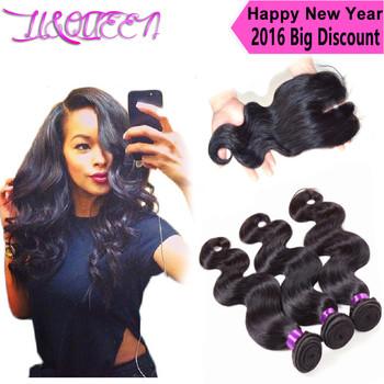 Бразильский девственные волосы с закрытием queen hair продукта бразилии плетение волос пучки с закрытием бразильский объемная волна с закрытием