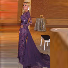 Elegant Purple Lace Evening Dresses Long Sleeve Floor Length Lace Formal Evening Gowns With Long Sleeves Lace Evening Dresses(China (Mainland))