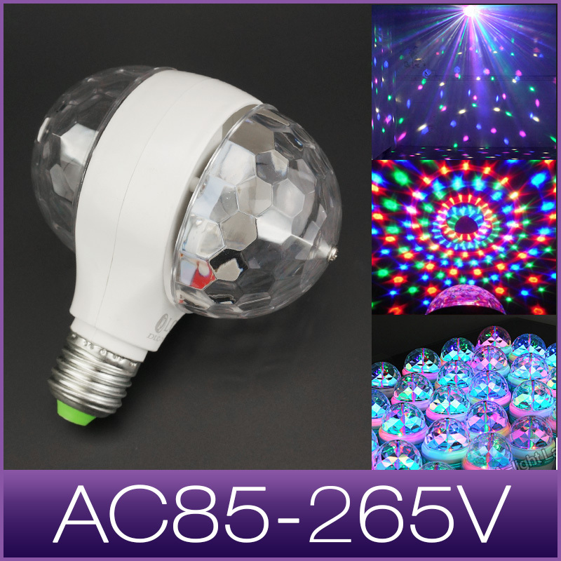 led stage light disco double balls 3W RGB E27 lamp projector Crystal Stage Light Magic Ball DJ dace party disco effect Bulb(China (Mainland))
