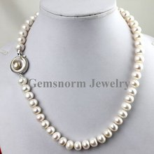 """High Quality. Newest 10-11mm Freshwater Pearls Neckalce with Shell Clasp 17.5"""" Length Free Shipping(China (Mainland))"""