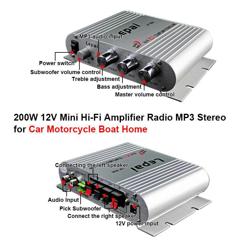 200W 12V subwoofer Stereo Channel 2.1 audio amplificador Mini Hi-Fi car Amplifier Radio MP3 player music Speaker(China (Mainland))