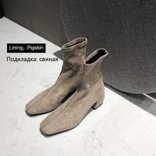 Donna-in Warme Elastische Flock Herbst Winter Stiefel Für Frauen Solide Slip Auf Damen Stiefel High Heels Casual Dicke plüsch Schnee Stiefel(China)