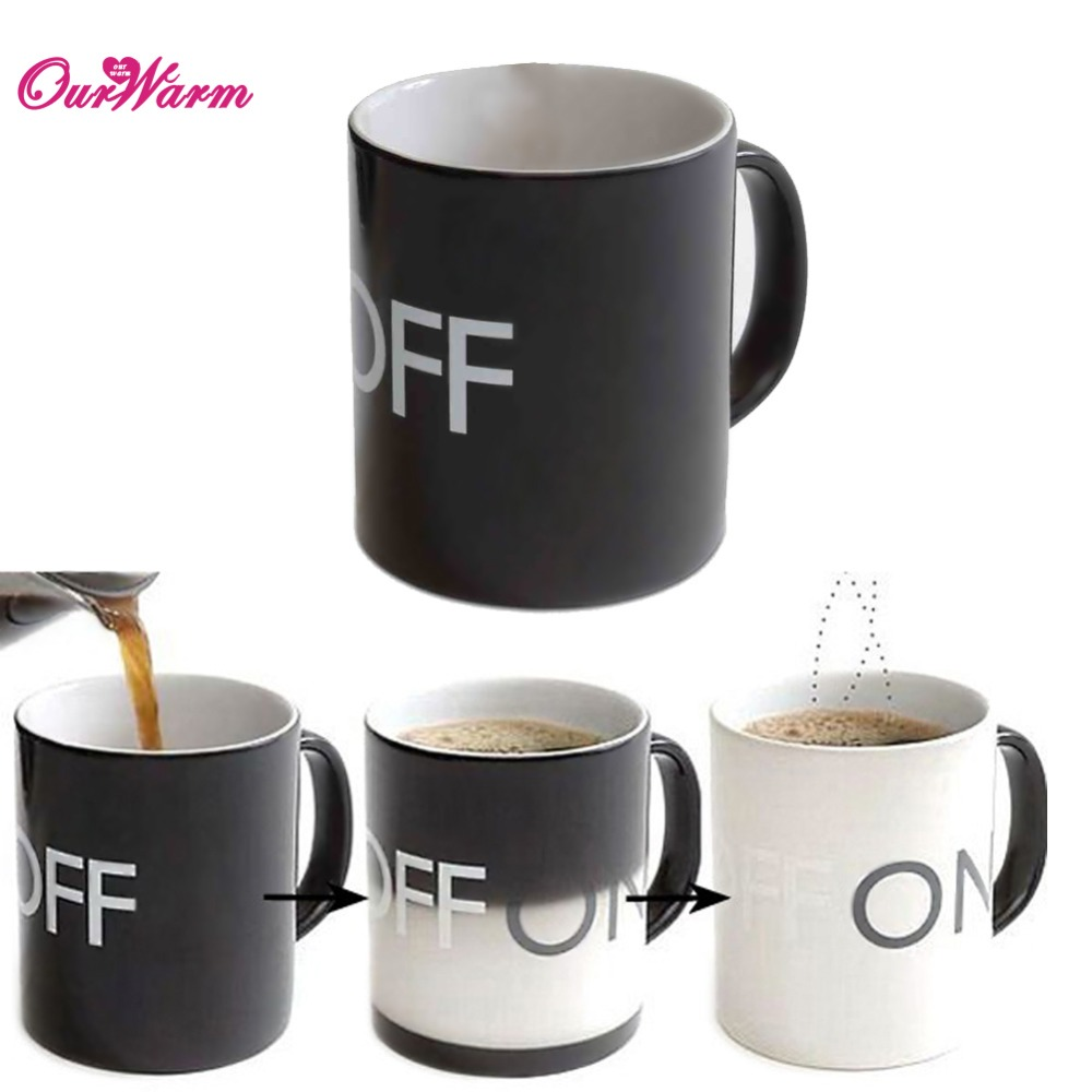 ON/OFF Magic Color Changing Mug Cup 201-300ml Heat Sensitive Magical Ceramic Coffee Drinking Creative(China (Mainland))