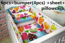 Promotion! 6PCS bedding sets,baby care bed baby crib bedding set baby bumper (bumpers+sheet+pillow cover)