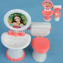 Free Shipping Dollhouse Furniture Bathroom Set Toilet and Sink(China (Mainland))