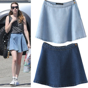 Summer new 2015 women casual solid color vintage high waist denim cotton slim loose short jeans skirt lady pants free shipping(China (Mainland))
