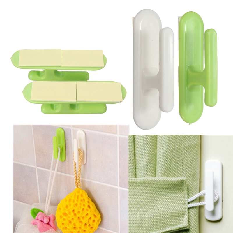 2pcs/lot Best Price New Arrival Home Double Hooks Door Wall Wooden Ceramic Surface Hanger For Towel Clothes Hat For Decoration(China (Mainland))
