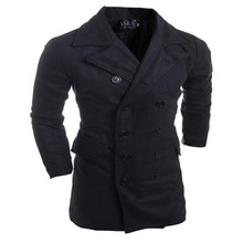 2016 New Men's Fashion Wild High-quality Solid Color Lapel Double-breasted Design Elegant Long-sleeved Woolen Coat Men(China (Mainland))
