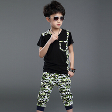 New 2016 Summer Children's Clothing Sets Kids Boy Clothes Set Child Baby Camouflage Sports Suits Boy Tops + Pants 2 Suit Piece(China (Mainland))