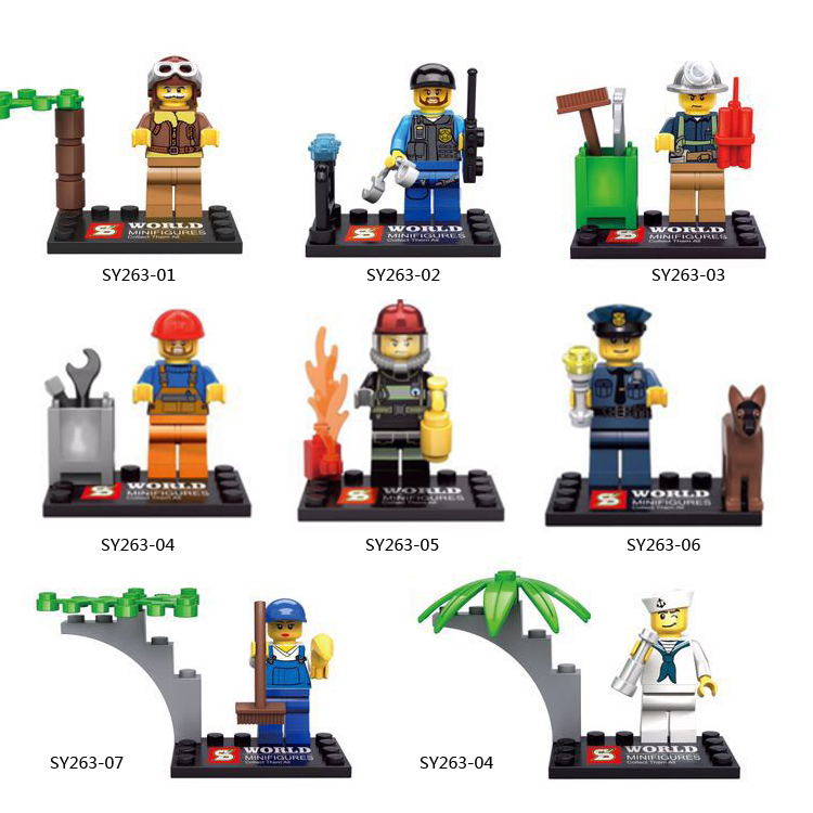SY263 15Lot Building Blocks Super Heroes Avengers Minifigures City Series Police Navy Fire Frighter Bricks Mini