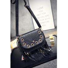 YOANME America and European Women Black Vintage Shoulder Bag Autumn Tassel Fringe Bag Trendy PU Lady
