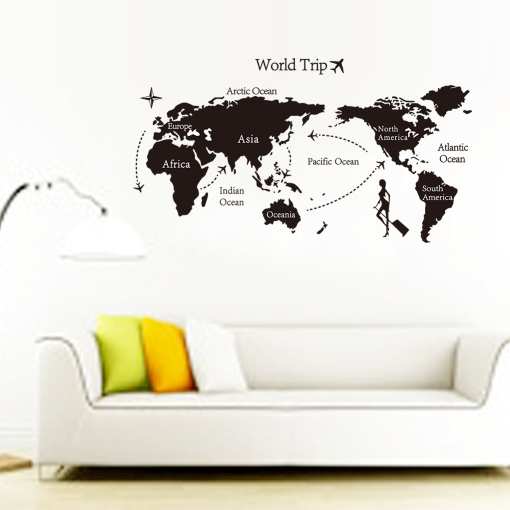 New creative world trip map wall sticker diy home decoration stickers living room bedroom background wall decorative stickers(China (Mainland))