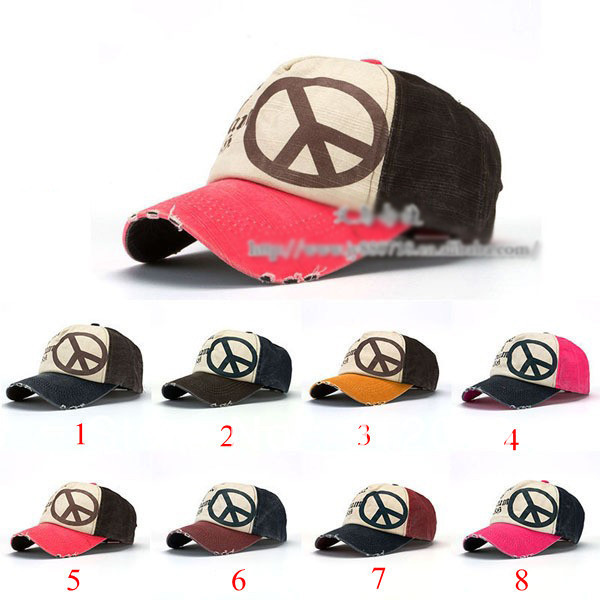 Fashion Coating Anti-War Peace Sign Men and Women Visor Baseball Cap 8 colors Cotton Casual Man and Woman Travel Sun Hat