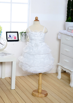 Blooming white lotus + white wavy noble and refined Classic Baby Dress