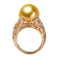 myray природных Южной море 12 мм Жемчужное кольцо 18 k золото бриллиант