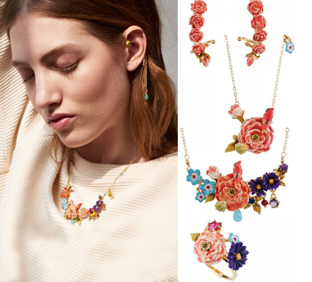 Senior jewelry 2015 The latest  Les nereides pastoral small and pure and fresh Flower necklace A series of 24K gold necklace<br><br>Aliexpress