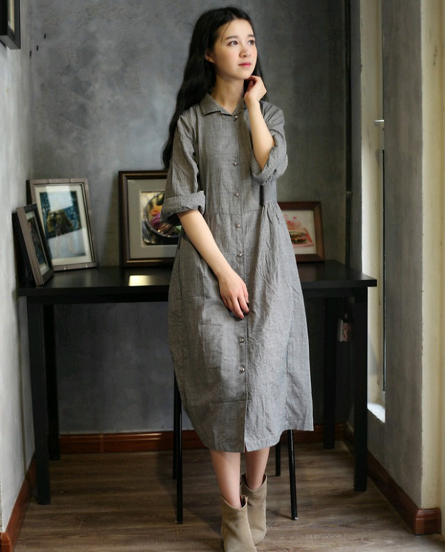 Turmec » long sleeve mid calf women&39s dresses