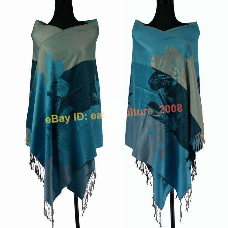 Free Shipping!!! New Elegant Lady's Lily Flower 100% Pashmina Shawl Wraps Scarf-----SH-002(China (Mainland))