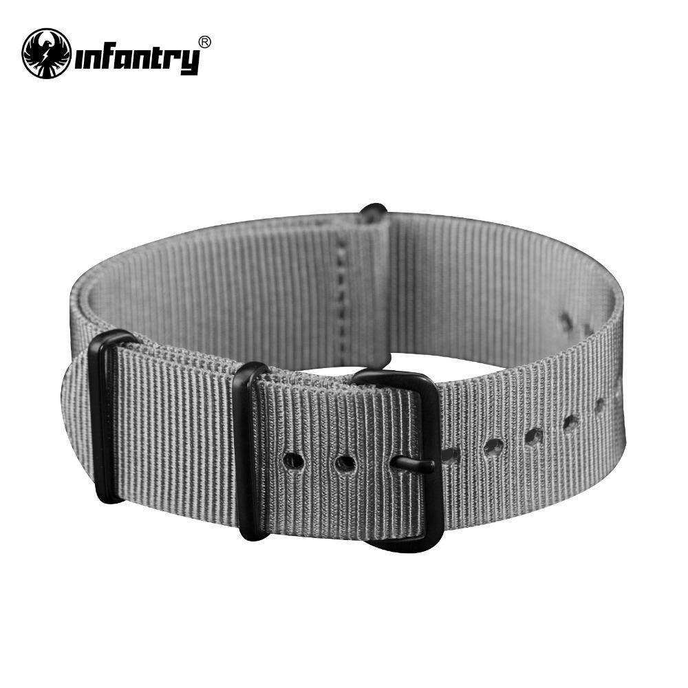 Infantry 20mm Watchbands Sport Style Grey Nylon Canvas Strap Durable Bands For Wrist Watches Men Bracelet 4 Black Bukles<br><br>Aliexpress
