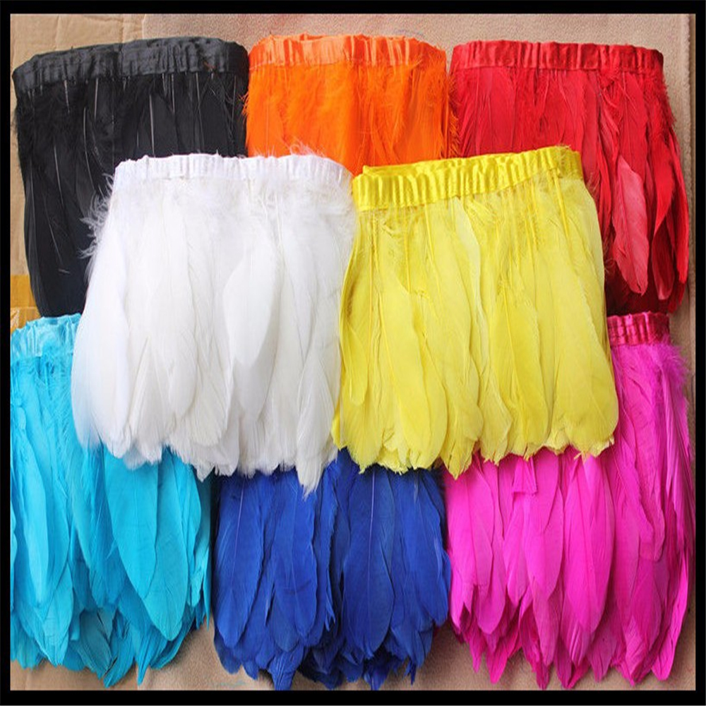 1yard White/black/hot pink swan goose feather trim/fringe/ribbon on bias tape used for cloth accessories Free Shipping SK19(China (Mainland))