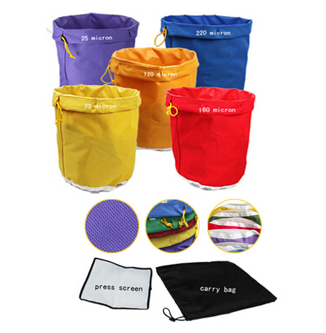 5gallon 5 bags, free screen press, High quality extraction bags/bubble ice hash bag are made of waterproof canvas, filter bag(China (Mainland))