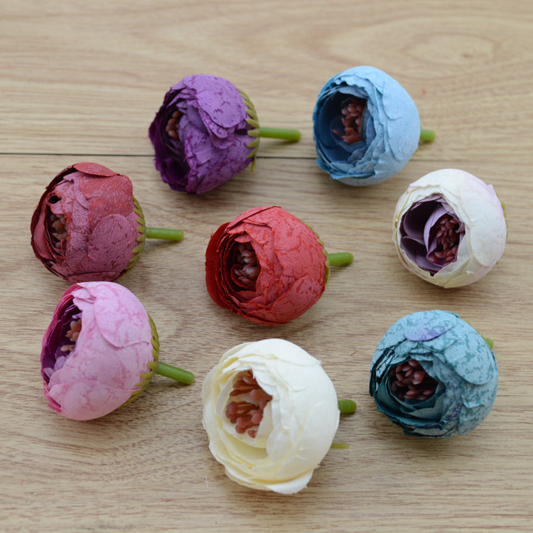4cm The  DIY hairpin clip Sen female flowers wreath material simulation retro tea bud flower hair accessories wholesale