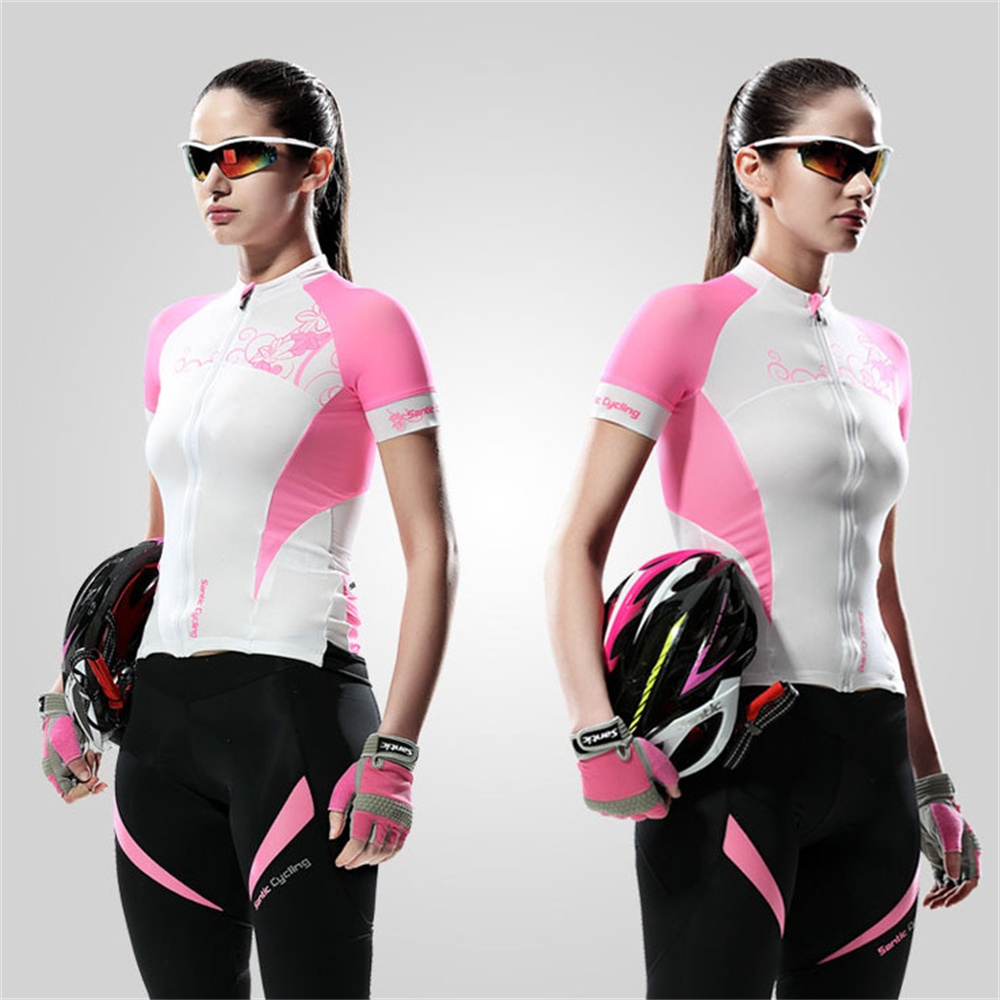 Фотография Santic Pro Brand Women Cycling Jerseys Short Sleeve Cycling Sportwear Jerseys Cycling Women Summer Shirts Outdoor Fitness MTB