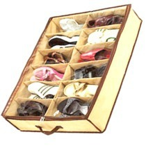 New 12Pairs Shoes Organizer Holder Fabric Bag Intake Under Bed/Closet Storage Box+Free shipping
