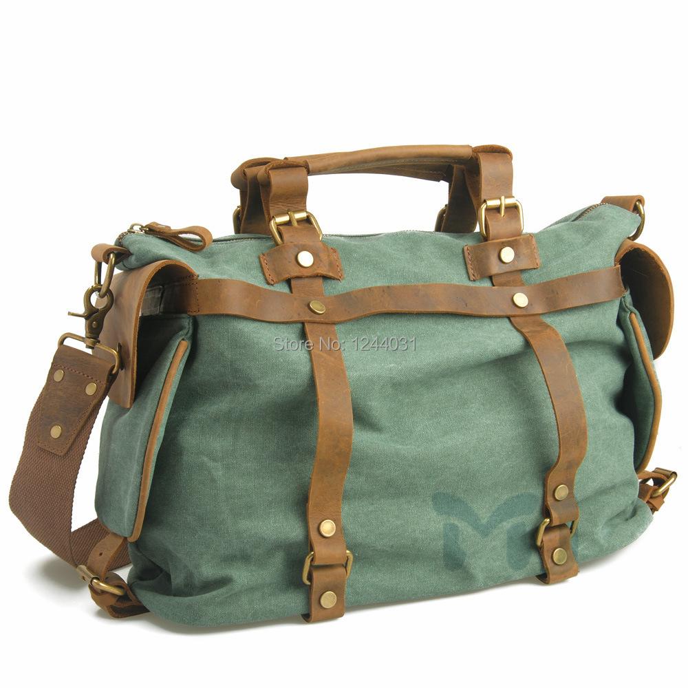 Unisex Travel Crossbody Bag Handbag Satchel Genuine Leather High Precision Water Washed Canvas Single Shoulder Bag Free Shipping()