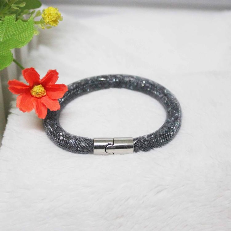 Hot Sale Light Black Stardust Bracelet Magnetic Crystal Cuff Bracelet Wrap Mesh Magnetic Clasp Double Gift(China (Mainland))