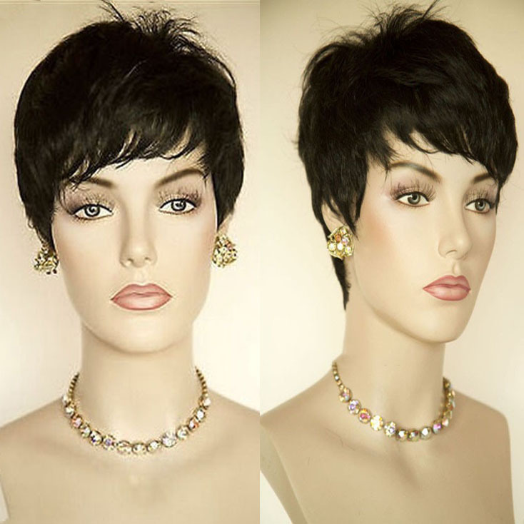 Black Wig Short Pixie Cut Wigs For Black Women Short Black Wigs ...