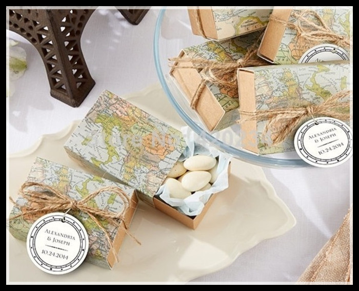 """Wedding Decoration Favors and Accessories""""Around the World"""" Map Favor Box Candy Boxes+100ppcs/lot+FREE SHIPPING(China (Mainland))"""